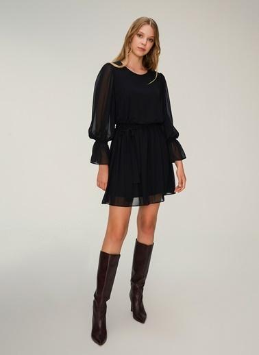 NGSTYLE Balon Kollu Kuşaklı Elbise Siyah
